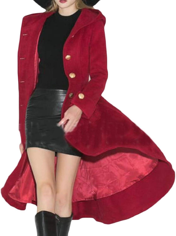 EtecredpowCA Womens Loose Swing Hooded Pleated Buttons Pocket Overcoat Wool Blend Coat Jacket