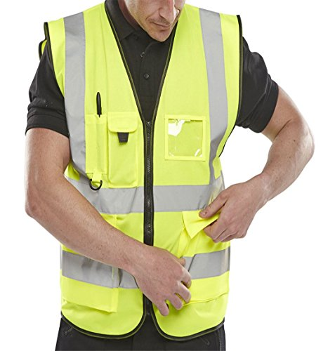Islander Fashions Erwachsene High Visibility Weste Herren Sport Arbeitskleidung Sicherheit Reflektierende Weste (Waistcoat Yellow) X Groß