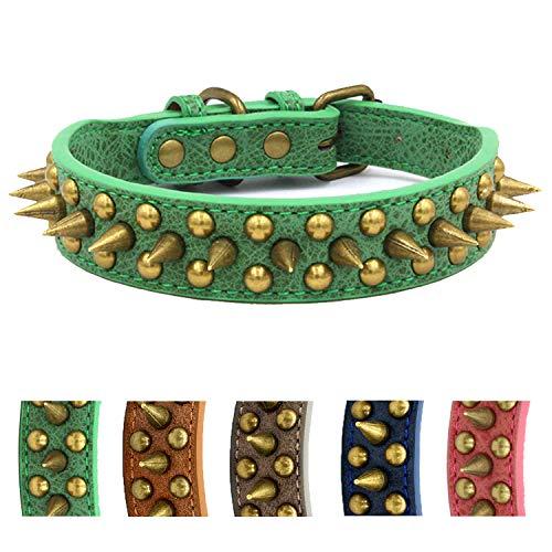 UVONOKAY Collar de perro con tachuelas y tachuelas de piel ajustable y elegante para perros pequeños, medianos y grandes (verde afilado, XS) Collar para perro con tachuelas y púas Anti-mordida