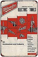 なまけ者雑貨屋 メタルサイン (Milwaukee Electric Power Tools Workshop Ad) さび風デザイン ブリキ看板