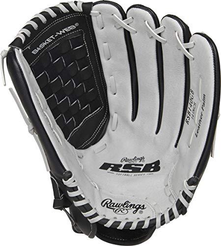 Rawlings Softball Series Glove, Basket Web, 14 inch, Right Hand Throw, Black/Gray (RSB140GB-6/0 14 BSK/NFC)