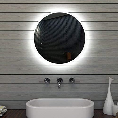 Lux-aqua Badezimmerspiegel Badspiegel Wandspiegel LED Beleuchtung Rund 60cm MLE6602
