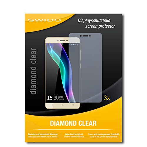SWIDO 3 x Schutzfolie Gionee S6 Bildschirmschutz Folie DiamondClear unsichtbar