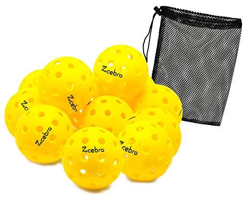 ZCEBRA - Pickleball Bolas 40 Agujeros Pack de 12 Bolas Amarillas USAPA Interior y Exterior Suaves...