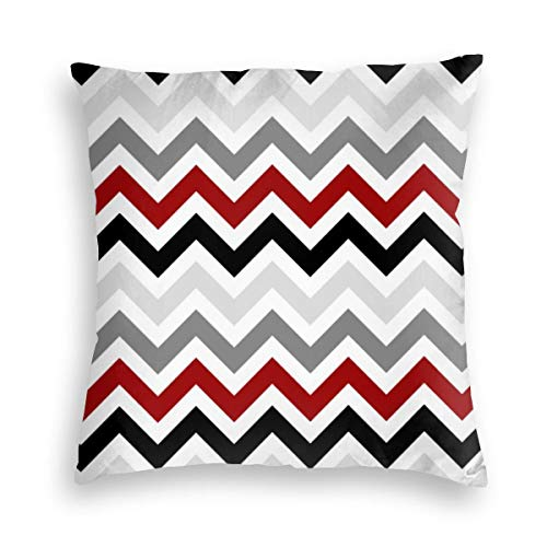 Feamo Dark Red Black Gray Chevron Zigzag Velvet Soft Decorative Square Throw Pillow Covers Cushion Case Pillowcases for Sofa Chair Bedroom Car 18X18inch