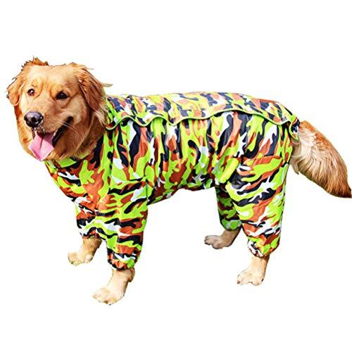 TTBD Regenmantel Für Hunde Mit Abnehmbarer Hoodie, Wasserdicht Pet Raincoat Reserved Urin Loch Design Hund Regen-Mantel-Overall Mit Gurt Leine Loch,Tarnen,16