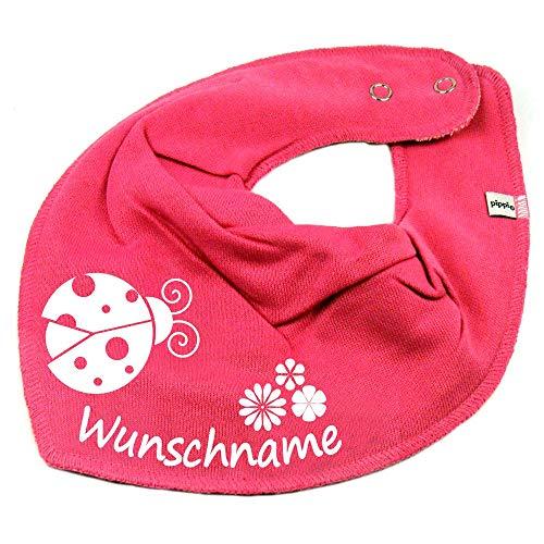 Elefantasie Halstuch Marienkäfer Blume mit Namen oder Text personalisiert pink für Baby oder Kind