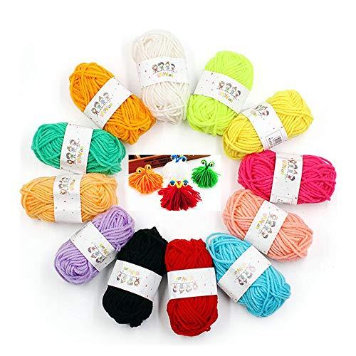 Sibosen 12 PCS Buntes Häkelgarn Wolle Zum Stricken Wolle zum Häkeln für Anfänger und Kinder, Anfänger Set Handstrickgarn für Häkeln und Kunsthandwerk 12 Farben (120g)
