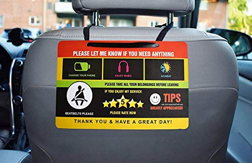 Eagle Express (2 pack) Uber Lyft Tips Rating Appreciated Rideshare Driver Signs double side double printed with different design 9x6