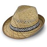 Erntehelfer Strohhut (Sonnenschutz) für Damen und Herren, cooler und modischer Sonnenhut im Trilby Look für den Sommer am Strand oder im Urlaub, verschiedene Größen, Farbe natur, Gr: 55 cm
