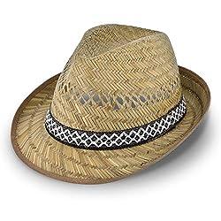 Erntehelfer Strohhut (Sonnenschutz) für Damen und Herren, cooler und modischer Sonnenhut im Trilby Look für den Sommer am Strand oder im Urlaub, verschiedene Größen, Farbe natur, Gr: 58 cm