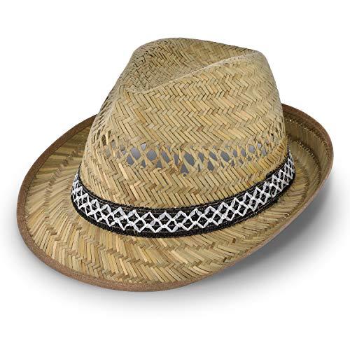 Erntehelfer Strohhut (Sonnenschutz) für Damen und Herren, cooler und modischer Sonnenhut im Trilby Look für den Sommer am Strand oder im Urlaub, verschiedene Größen, Farbe natur, Gr: 61 cm