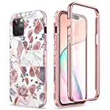 SURITCH Compatible with iPhone 12 Pro Max Case, [Built-in Screen Protector] Marble Full-Body Protection Shockproof Rugged TPU Bumper Protective Cover for iPhone 12 Pro Max 5G 6.7 inch (Rose Marble)