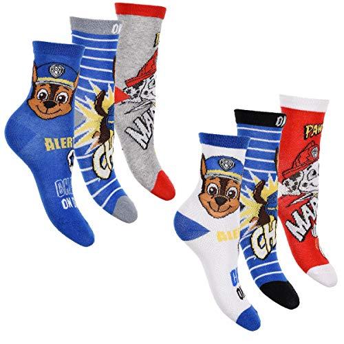 PAW PATROL 6er Pack Jungen Socken Strümpfe vielen verschiedenen Muster und Designs (Mix 9, 27-30)