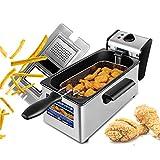 Basket Electric Deep Fryer, Countertop Frying Machine, Premium Stainless Steel Temperature Knobs Safe