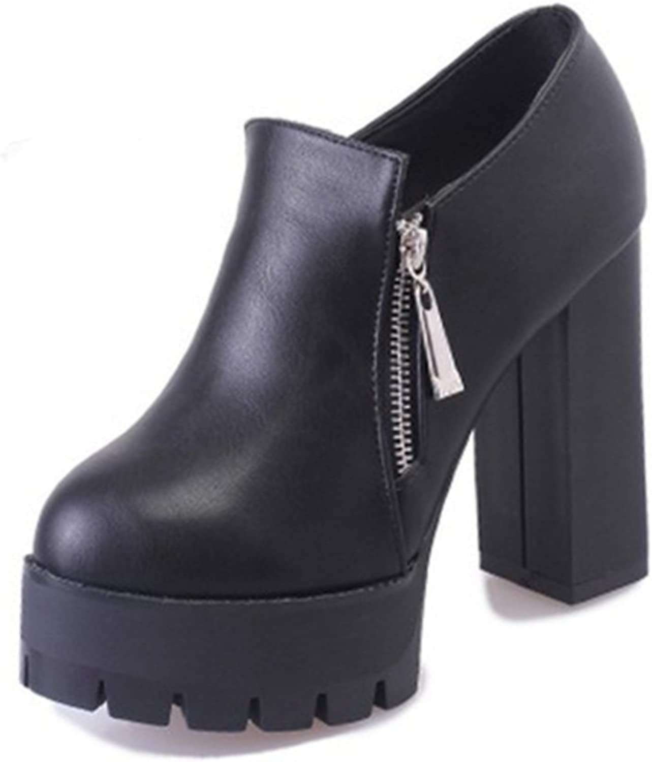 Europe in autumn and winter boots Thicken Martin boots High heel Side zipper waterproof platform boots with round head