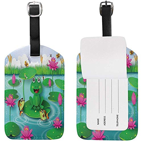 Frog Water Lily Luggage Tags Travel Id Bag Tag for Suitcase 1 Piece