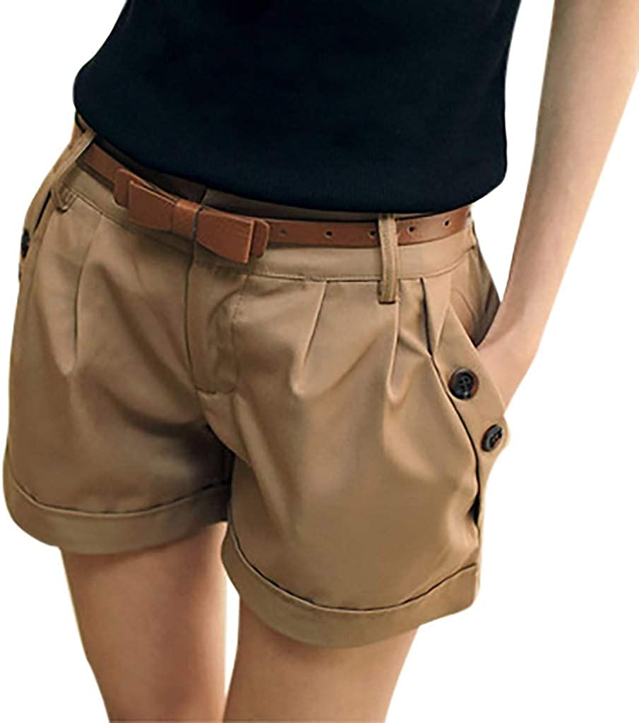 iCODOD Womens Fashion Shorts Los Angeles Mall Solid England It is very popular Style Mid Color Waist