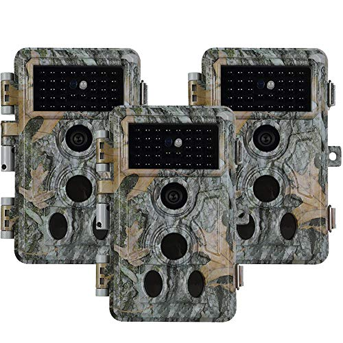 Folgtek 3pcs Hunting Camera Wildlife Camera Trail Cam 24MP 1296P H.264 Video 0.1s Trigger Time Night Vision Motion Activated IP66 Waterproof