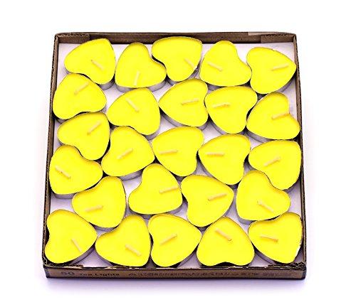 CREATIONTOP Scented Candles Tea Lights Mini Hearts Home Decor Aroma Candles Set of 50 pcs mini candles (Yellow(Lemon))