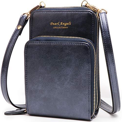 Pearl Angeli movil bolso cartera mujer eleganza monedero pequeno telefono bolsa Cuero vegano billetera pequeña bandolera celular bolsitos (Actualizada-Azuloscuro)