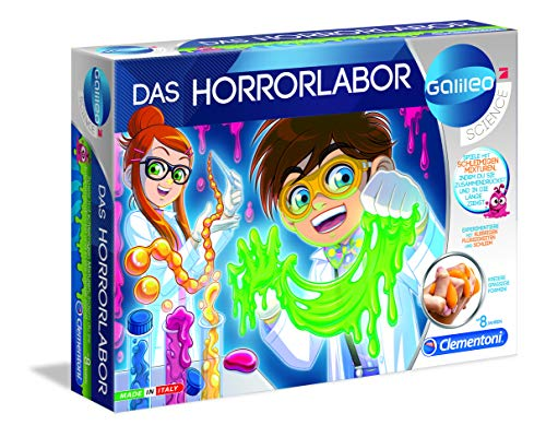 Clementoni 59061 Galileo Science – Das Horrorlabor, spannende und lustige Experimente mit Gelen & Flüssigkeiten, Spielzeug für Kinder ab 8 Jahren, für kleine Chemiker