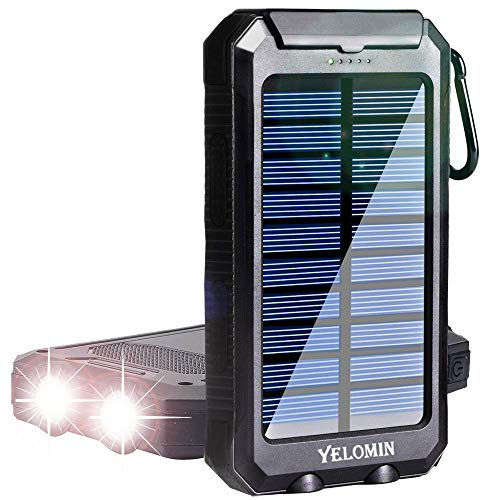 Solar Charger,YELOMIN 20000mAh Portable Outdoor Solar Power Bank for Cell Phones,Camping External Backup Battery Pack Dual USB 5V 1A/2A Outputs 2 Led Light Flashlighs with Compass