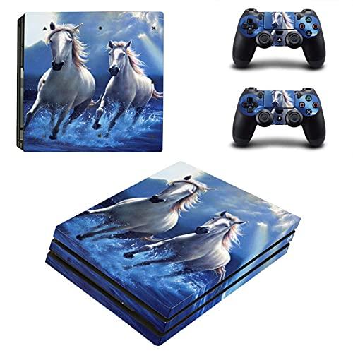 PS4 Pro Skin Para Console Y Controller De 46 North Design, Misma Calidad Que La Decal Para Coche, Blanco Caballo Mustang Caballero Toro Océano Azul, Alta Calidad, Duraderas, Fabricadas En Canadá