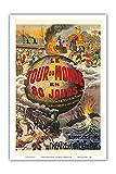 Le Tour du Monde en 80 Jours - Jules Verne - Théâtre du Châtelet - Affiche Ancienne de Theatre de L. Charbonnier c.1874 - Reproduction Professionelle d'art Master Art Print - 31cm in x 46cm