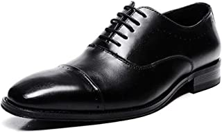AiHua Huang Business Oxfords for Men Formal Shoes Square Toe Genuine Leather Lace up Anti-Slip Solid Color Perforated Three Joints (Color : Black, Size : 8 UK)
