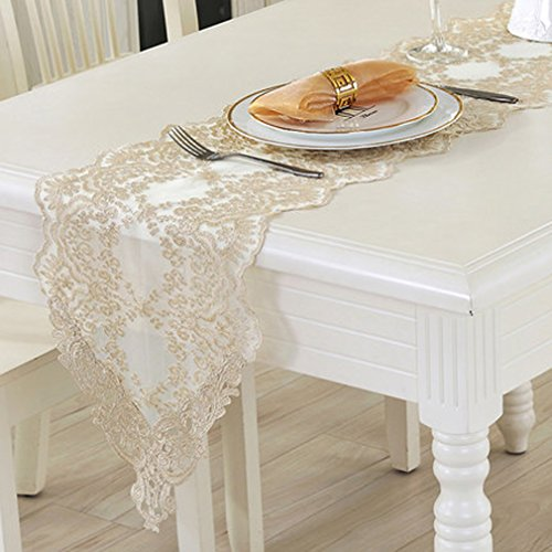 """Tina Wedding Party Home Decoration Embroidered Lace Table Runner And Scarves Light Gold, 12x48"""""""