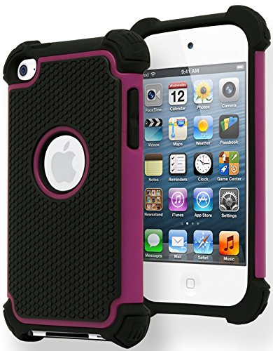 iPod Touch 4 Case Bastex Hybrid Slim Fit Black Rubber Silicone Cover Hard Plastic Hot Pink amp Black Shock Case for Apple iPod Touch 4 4th Generation