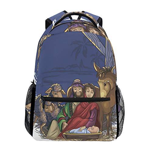 TIZORAX - Zaino per la scuola con presepe di Natale con sacra famiglia, zaino da viaggio