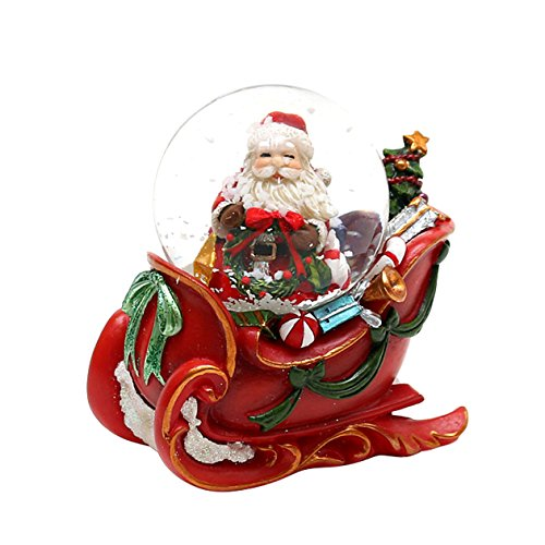 Dekohelden24 Wunderschöne Schneekugel, Santa im Schlitten, Ø 4,5 cm