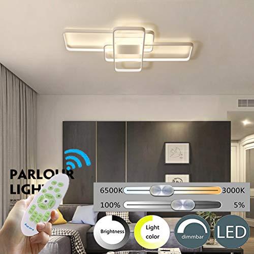LED Lámpara de Techo de Salón 3 Square Luz de Techo de Comedor Moderno Regulable control remoto Dormitorio Decoración Araña de Techo Cocina Creativa Estudio Balcón Pasillo Corredor Luces (Blanco A)