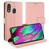 Simpeak Funda Compatible con Galaxy A40, Funda Libro Cuero Compatible con Samsung Galaxy A40 Soporte Plegable/Ranuras Compatible con Tarjetas y Billetes/Acceso - Rosa