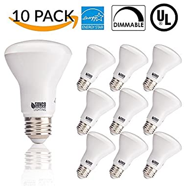 10 PACK - BR20 LED 7 WATT (50W Equivalent), 2700K Soft White, DIMMABLE, Indoor/Outdoor Lighting, 550 Lumens, Flood Light- UL AND ENERGY STAR LISTED
