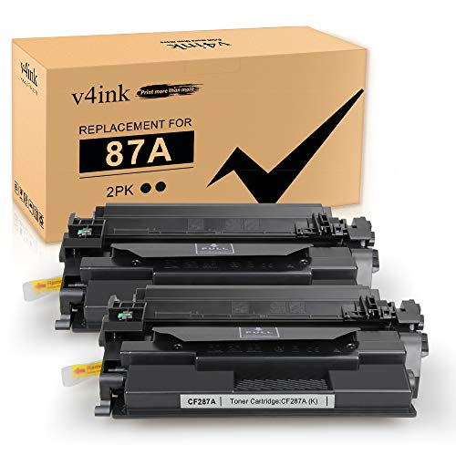 87A V4INK Compatible Toner Cartridge Replacement for HP 87A CF287A Toner for use in HP Laserjet Enterprise M506 M506n M506dn M506x, HP Pro M501n M501dn, MFP M527c M527dn M527f M527z Printer 2 Packs