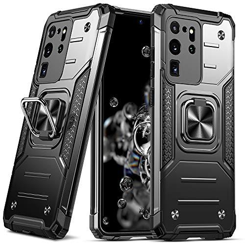 DASFOND Armor Hülle für Samsung Galaxy S20 Ultra 5G mit Kameraschutz Hülle Militärische Stoßfeste Handyhülle [Upgrade 2.0] 360 ° Ständer Cover mit Auto Magnet, Schwarz