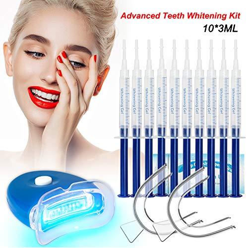 Gel Sbiancante per Denti Teeth Whitening Kit Sbiancamento Denti Denti Bianchi Professionale Pulizia Denti-10x3ML Gel Sbiancante,1xLuce LED,2xVassoio Dentale,1xCarta Colore,5 Sbiancamento Denti Wipe…