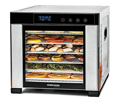 ROMMELSBACHER Dörrautomat DA 900, große Dörrfläche 0,6 m², inkl. 6 Edelstahl-Dörrtabletts, 1 Dörrgitter, 1 Dörrmatte, LED-Display, 24 Std. Zeitschaltuhr, Temperatur einstellbar (35 °C – 75 °C)