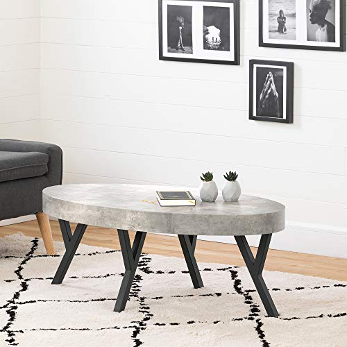 South Shore City Life Coffee Table-Concrete Gray and Black, Oval