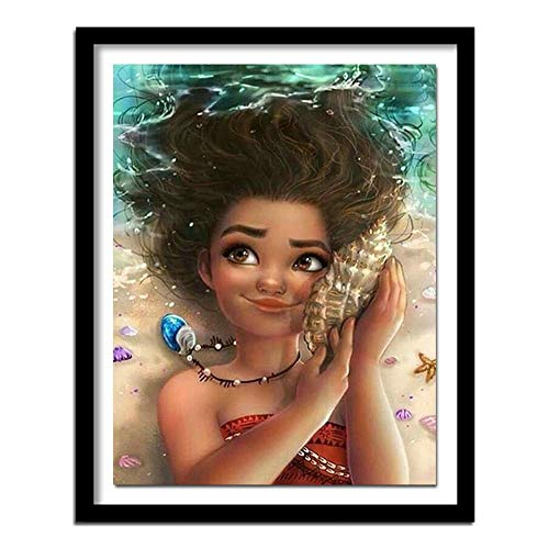 DIY 5D Diamond Painting by Number Kit,Conch Girl Full Drill Crystal Rhinestone Mosaic Embroidery Cross Stitch Arts Craft Canvas Wall Decor (30x40cm,12x16inch)