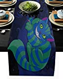 Refined&Modern Table Runner with Heatproof Performance, Non Slip Durable Table Runners for Coffee Home Party Wedding Dining Decoration, Alice and Weired Cat, 18x72in