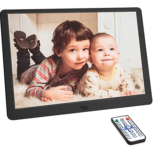 10.1 Inch Digital Photo Frame with 1920×1080 HD IPS Screen Remote Control Display Picture Music Video Calendar Alarm Timer on/Off by SD Memory Card U Disk (Support 64G) USB Device (Black) Digital Frames Picture
