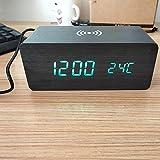 Creativo De Madera Reloj LED Inteligente De Madera Reloj Electrónico Digital Tiempo De Madera Del Reloj De Alarma De Temperatura USB, La Batería, La Carga Inalámbrica,A2