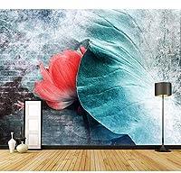 Djskhf カスタム3D壁紙新しい中国の蓮の葉リビングルームソファ背景壁絵画インク色壁画カフェ 280X200Cm