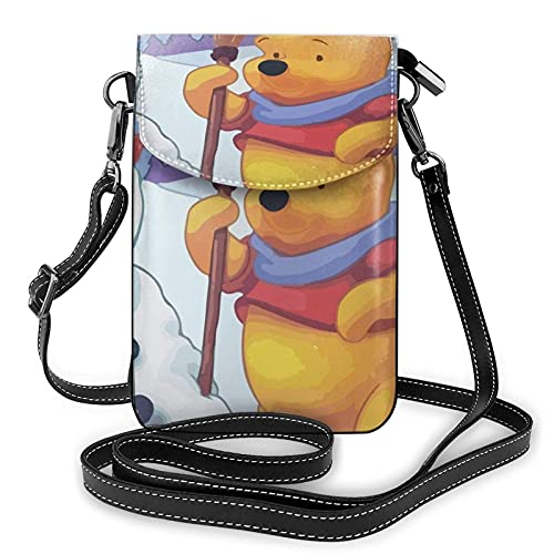 XCNGG Monedero pequeño para teléfono celular Women's Small Crossbody Bag with Shoulder Strap,Winnie The Pooh Makes a Snowman Small Cell Phone Purse Wallet with Credit Card Slots