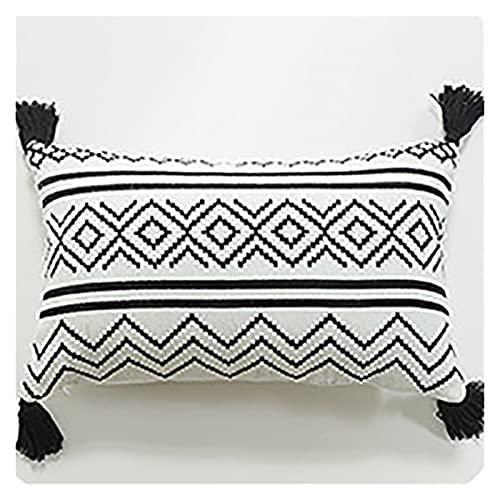 XIAOFANG Moda Decorativa cojín Cubierta geométrica Rayas borlas Funda de Almohada Estilo nórdico Sala de Estar decoración para el hogar sofá Fundas de Almohada (Color : 30x50cm)