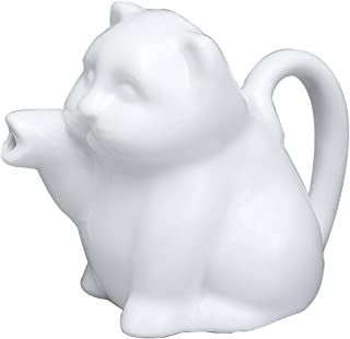 HIC Harold Import Co. NT1090 HIC Mini Cat Creamer Coffee Tea Milk Syrup Dressing Server with Handle, Fine White Porcelain, 2-Ounces